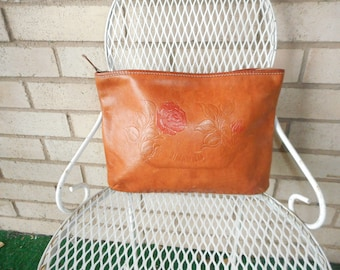 Vintage Large Charro Tooled Leather Clutch Bag Tan with Roses