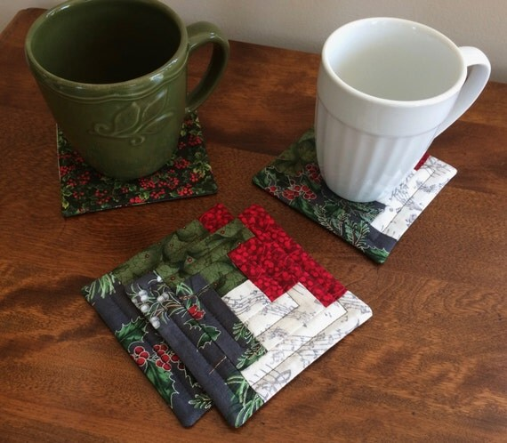 4 Quilted Log Cabin Music Note Christmas Coasters Red Green