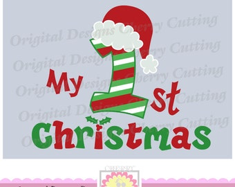 My 1st Christmas with Santa hat SVG eps jpg png,Christmas number 1 Silhouette & Cricut Cut Files CHSVG04  -Personal and Commercial Use