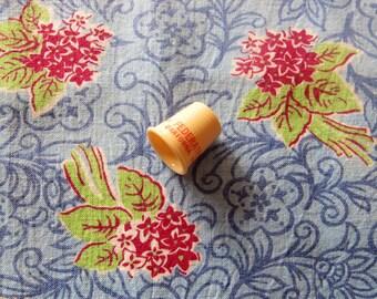 vintage FULL feed sack fabric --dark red nosegays on blue floral print