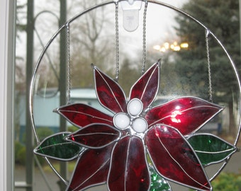 Stained Glass Poinsettia Suncatcher - Item 4-1071