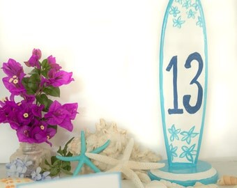 Beach Wedding Centerpieces, Surfboard Table Numbers, Summer Wedding Table Decor, 11 inch