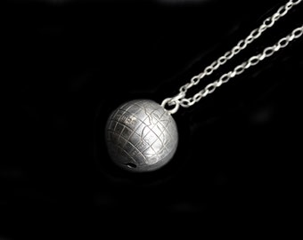 MercurysMoon-SALE- Antique Sterling Silver English World Globe Bell Orb Charm Pendant