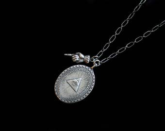 MercurysMoon-Vintage All Seeing Sterling Silver Radiant Eye w Pyramid  & Antique Dimensional Hand Necklace