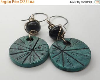 30% OFF SALE Patina and Black Polymer Clay & Lampwork Earrings . by Lori Davidson