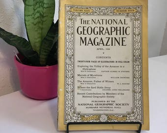Vintage Magazine, April 1926, National Geographic, free shipping US & Canada