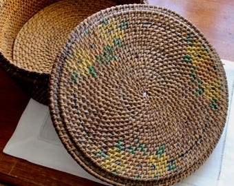 Vintage Basket Box Woven Round Brown Yellow Green Lidded Flowers Rattan Reed