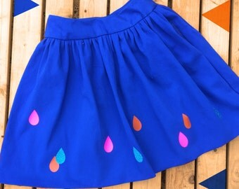 Blue Women's Skirt- Raindrops pattern- handmade Royal Blue Ladies clothing, plus sizes, made to order with pockets! Neon Pink!