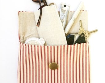Red French Ticking Clutch with Gold Button