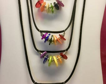 Everyday Button Necklace ROYGBIV