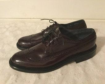 Pair of Vintage Mens Stuart McGuire Leather Wingtip Oxfords,Mens Size 9 1/2 A
