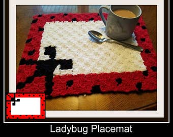 Ladybug Placemat , C2C Graph,  Written Word Chart