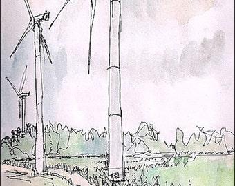 Wind turbine over corn field signed print gestural drawing glicee print 8.5x11