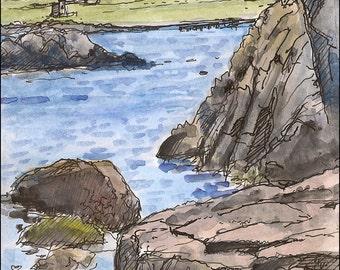 Waves at cove Jamestown rocks, Newport scenic ocean landscape print 8.5x11 wall decor Home & Living color print gift idea watercolor art