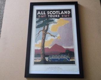 """Original Vintage """"All Scotland S.M.T. Tours"""" Travel Poster Framed"""