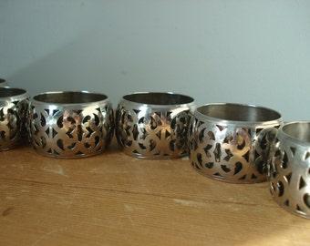 Set of 6 Vintage Napkin Rings/Silver Plate Napkin Rings/Vintage Napkin Holders/Ornate Silver Napkin rings