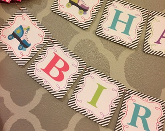 ROLLER SKATE PARTY Happy Birthday Banner - Party Packs Available