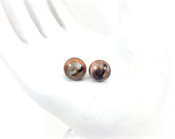 Vintage Japanese Glass Bead Stud Earrings Black Gold Cabochon Hypoallergenic 8mm
