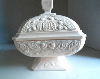 Pink Milk Glass Footed Covered Dish Jeannette Glass c.1950 Cottage Chic Acorns Oak Leaves Textured Home and Living Dining Serving Jewelry