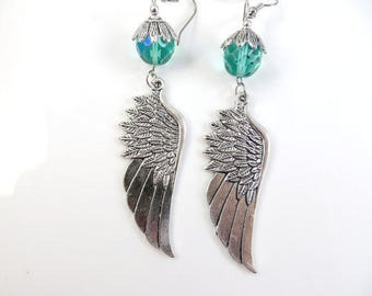 Large silver wing earrings