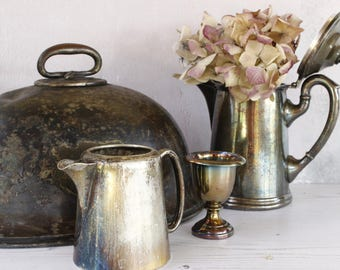 LOT of FOUR Antique Silver Plated Itmes for Display...Cloche, Cream Jug, Water Pot, Egg Cup....Nordic Style Living....Shabby Chic..