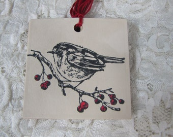 Bird on Red Berry Branch Holiday Christmas  Tags set of 12