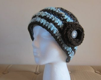 Brown and Blue Hat for Women, Brown Crocheted Hat, Brown Hats for Women, Flower Accent Beanie, Beanie with Flower, Brown and Blue Hats