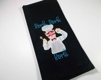 Swedish Chef - Bork Bork Bork Sarcastic Humor - Embroidered Towel - Kitchen Towel -  10 dollar gift - Funny  Towel - gag gift – tea towel