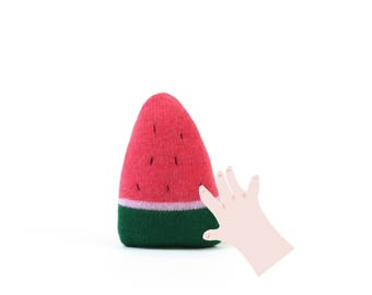Watermelon Baby Rattle - soft knitted baby toy, new baby gift, baby shower gift