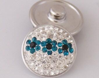 1 PC 18MM Blue White Flower Rhinestone Silver Candy Snap Charm KB2407-ao Cc3147