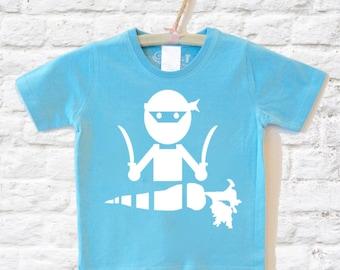 Vege Ninja T-shirt, Organic T shirt  Blue Tshirt Children's Clothing Kids Clothes for Toddler & Youth, Organic Clothing by Uni-T
