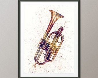 Cornet, Abstract Watercolor Music Instrument Art Print (2513)