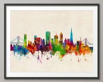 San Francisco Skyline v2, San Francisco California Cityscape Art Print (2627)