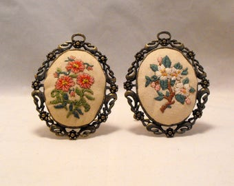 Set Of Two Vintage Tiny Metal Picture Frames With Embroidered Flowers