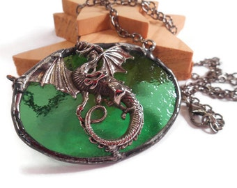 Green Dragon Pendant Stained Glass Jewelry Handmade Jewelery Glass Metal Jewelry Green Glass Pendant Jewelry Necklace Unique Statement Piece