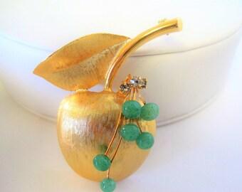 Brushed Gold Apple Brooch -  Green Peking Glass Beads - Gift for Teacher
