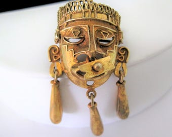 Tribal Face Brooch -  Mayan Aztec Pin - 50's Gold Tone Brooch