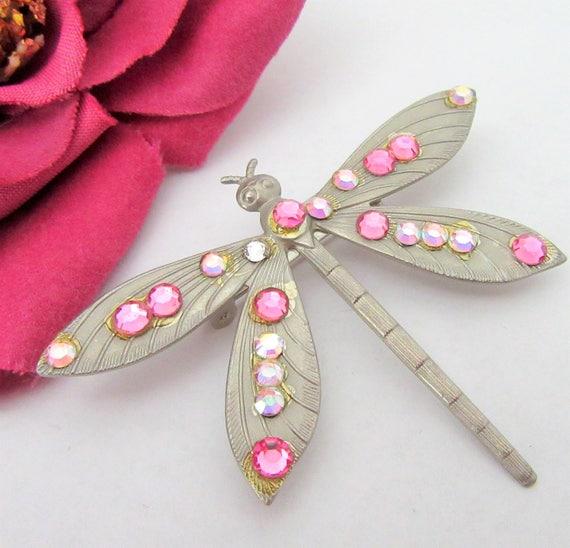 Dragonfly Brooch - Pink Clear Rhinestones - Figural Pin