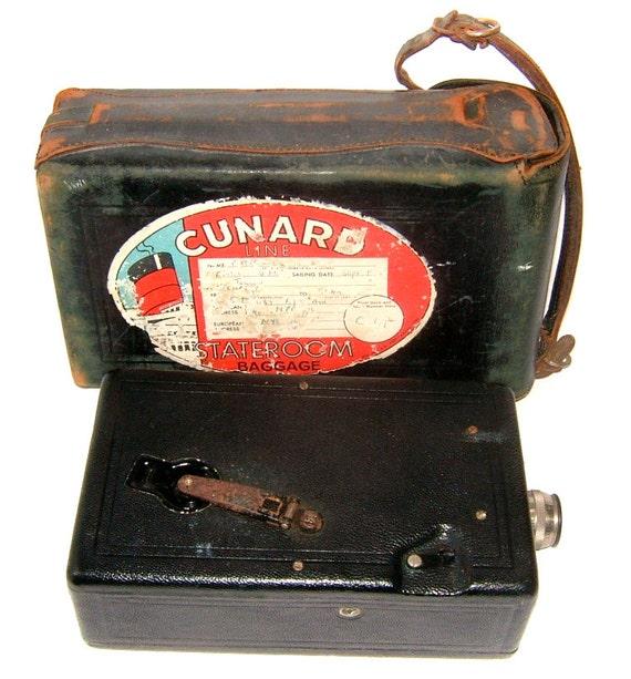 1920s Eastman Kodak Co Cine Kodak Model B with f 1.9 Lens Queen Mary Cunard Line Label Vintage Camera Vintage Photography Antique Camera