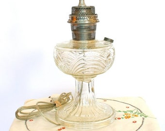 20% OFF SALE 50's Vintage Lamp, Vintage Glass Lamp, Converted Oil Lamp, Country Shabby Chic, Victorian Lamp