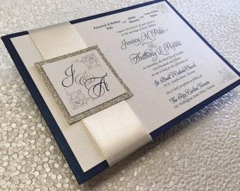 Glitter Wedding Invitation pocket card with Custom Designed Monogram - Color Customizable!