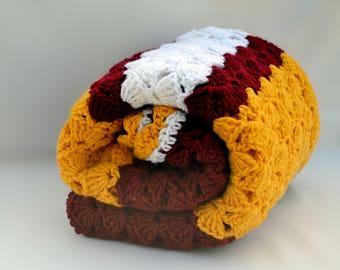 USC fan inspired crochet blanket, crochet afghan, lap blanket, travel blanket, sports team football blanket, college football, throw blanket