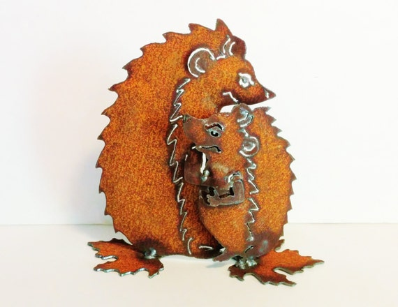 Hedgehog Love Rusty Garden Art from Recycled Metal