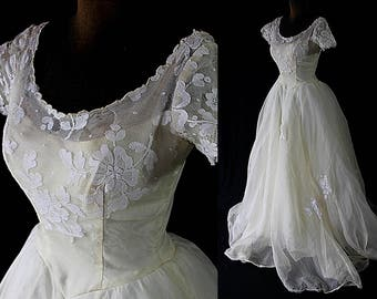 1950s Marie of Pandora Wedding Gown Bridal Gown Trash the dress AS IS