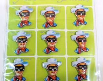 Free shipping! Vintage Display Card With 12 Lone Ranger Brooches/Badges/Pins By KTS Of Japan, Mint On Card