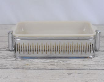 Vintage Fire King Casserole Dish On Silver Decorative Stand Buffet Stand