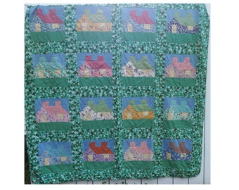 Vintage Quilt- Handmade Patchwork Cottage/ cabin Quilt- Green, blue, pink, yellow, purple- 81 by 75 inches- Queen/ Full/ Double Size-