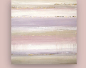 """Art, Large Painting, Original Abstract, Acrylic Paintings on Canvas by Ora Birenbaum Titled: Soft Heather 48x48x1.5"""""""