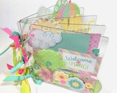 Spring Scrapbook Acrylic Mini Album DIY kit or Premade Spring Family