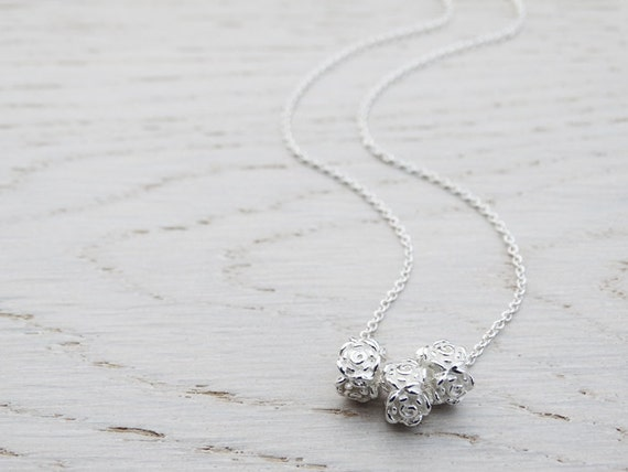 Silver Rose Beads Necklace - Sterling Silver